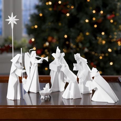 """Porcelain Origami Nativity 