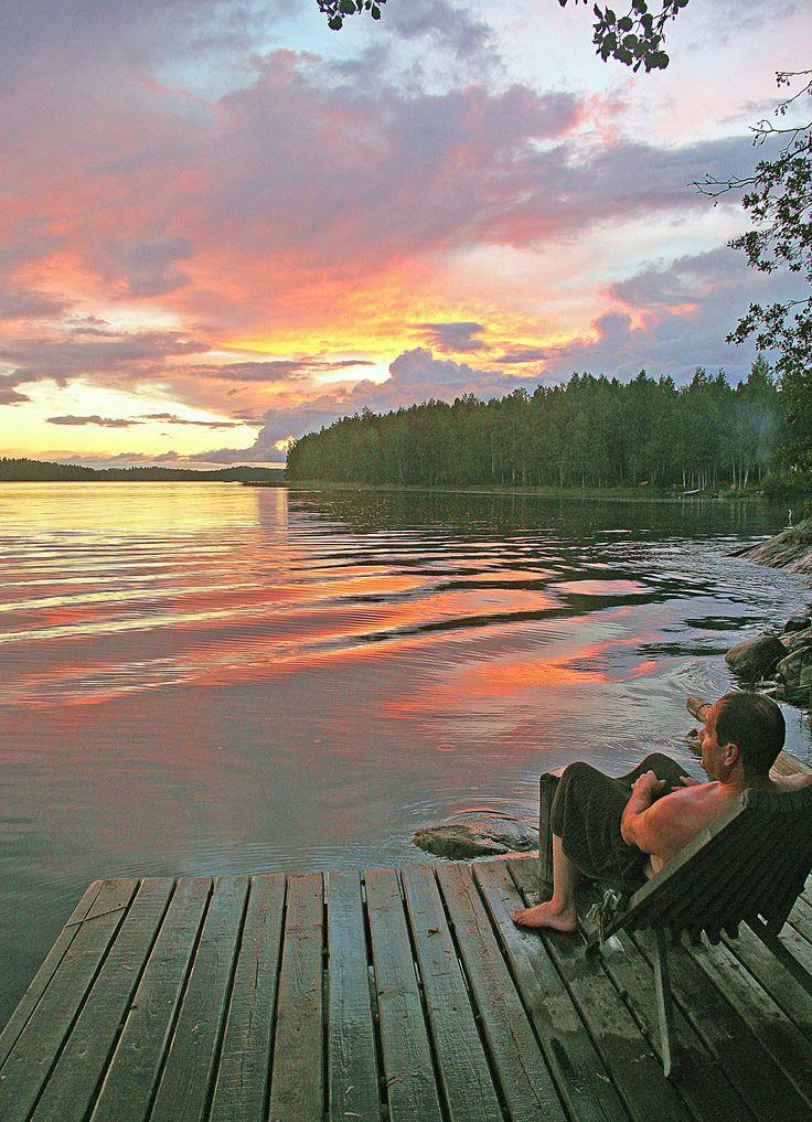 After sauna, lake Saimaa, Savonlinna, Finland