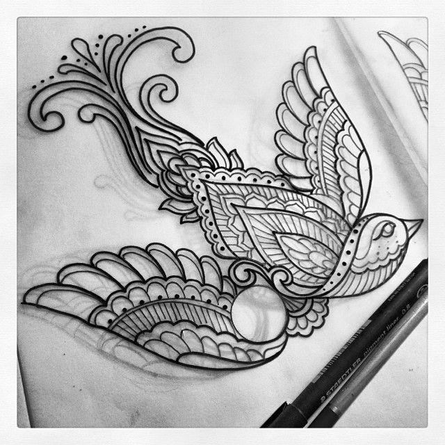 Homework. #sketch #drawing #linedrawing #mehndi #mehnditattoo #tattoodesign #tattoo #bird #henna #paisley #domholmestattoo
