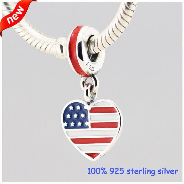 США флаг сердце Серебряные Подвески Лето Новый Стиль 925 Стерлингового Серебра Бисер DIY Ювелирных Изделий Оптовая 09237