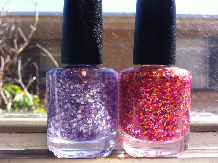 Wistful Wisteria and Snow Poppies glitter nail polish by Hollish 5-free indie nail lacquer hand-made in South Australia. Pink, orange, white, purple, lavender, sparkle, holo, holographic hex http://www.etsy.com/shop/HollishNails