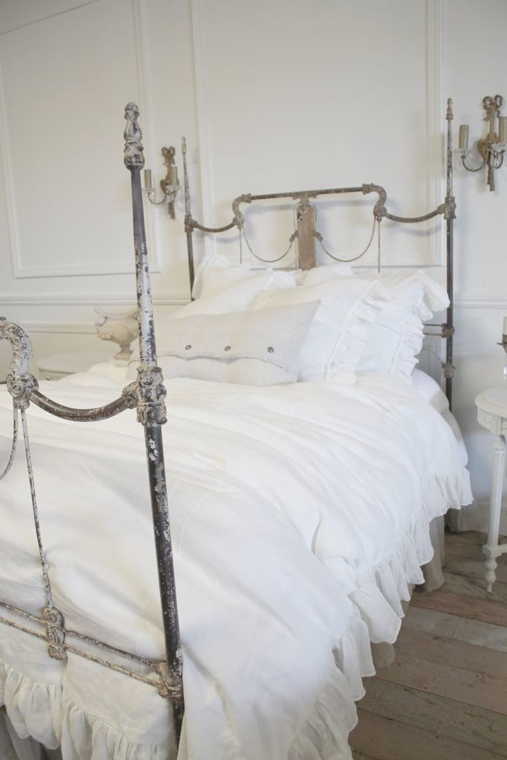 This is a beautiful bed and bedding - via Full Bloom Cottage
