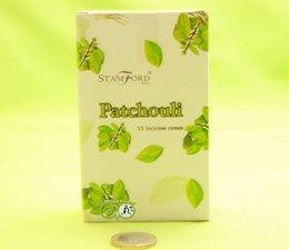 StamFord Patchouili- 15 Cones - kegeltjes  Patchouili is een van de essentiële bestanddelen van menig parfum. Patchouili olie is afkomstig van de bladeren en stengels van de Patchouili-plant, die voornamelijk groeit in Indonesi&eu...