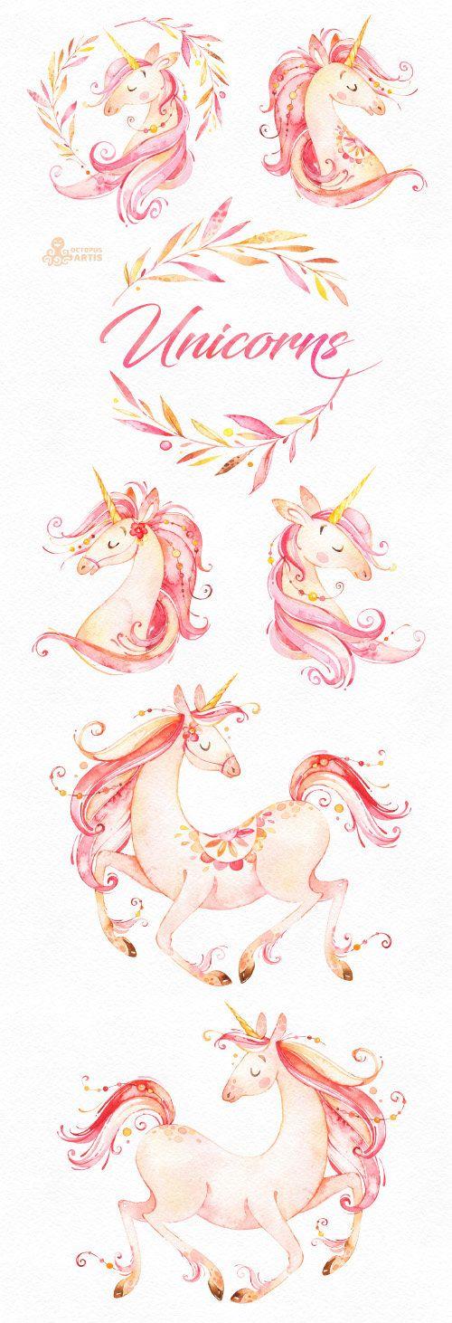 Licornes. Clipart aquarelle magique. Conte de fées fantaisie