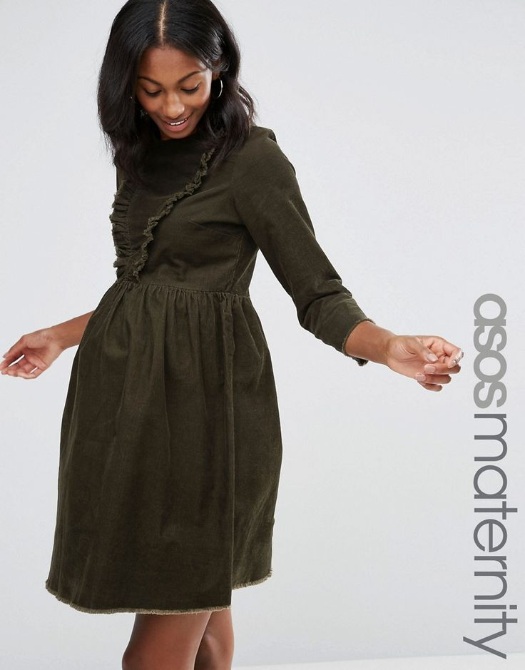 Buy it now. ASOS Maternity Cord Smock Dress with Ruffle Detail in Forest Green - Green. Maternity dress by ASOS Maternity, Cotton cord fabric, Crew neckline, Ruffle trims, Zip back, Regular fit - true to size, Designed to fit through all stages of pregnancy, Machine wash, 100% Cotton, Our model wears a UK 8/EU 10/US 4 and is 180cm/5'11 tall. ABOUT ASOS MATERNITY Maternity dressing gets bumped up to next-level status with the ASOS Maternity edit. Designed by the London-based team to fit you…