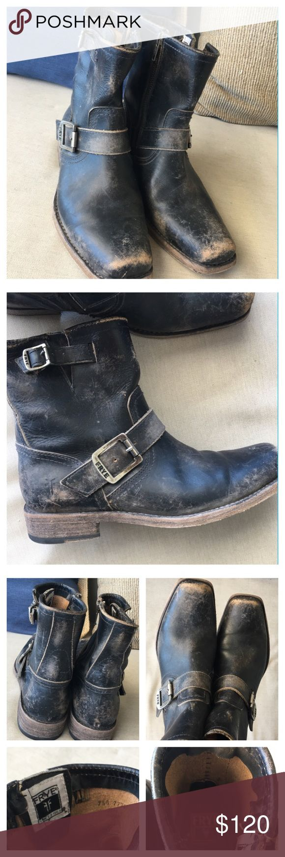 """Frye Smith Engineer Boots These are authentic Frye boots. Though they are used the look of this boot is distressed """"stonewash"""" when purchased new. Its distinctive snub toe is what sets the Smith Engineer boot apart from the original. Tumbled with stones for a distressed look, this boot offers a more rough and tumble take on our iconic tribute to the great American working man. FEATURES - Leather lined - Leather outsole with rubber insert - 8 1/2"""" shaft height - 14"""" shaft circumference - 1…"""