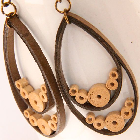 Teardrop Earrings Brown Paper Quilled Hypoallergenic by HoneysHive, $25.00
