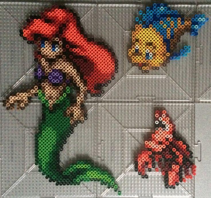 Ariel, Sebastian and Flounder Perler beads by TehMorrison