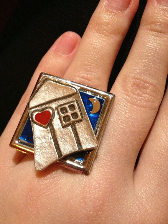 Handmade resin ring The Love house by Strouthio on Etsy