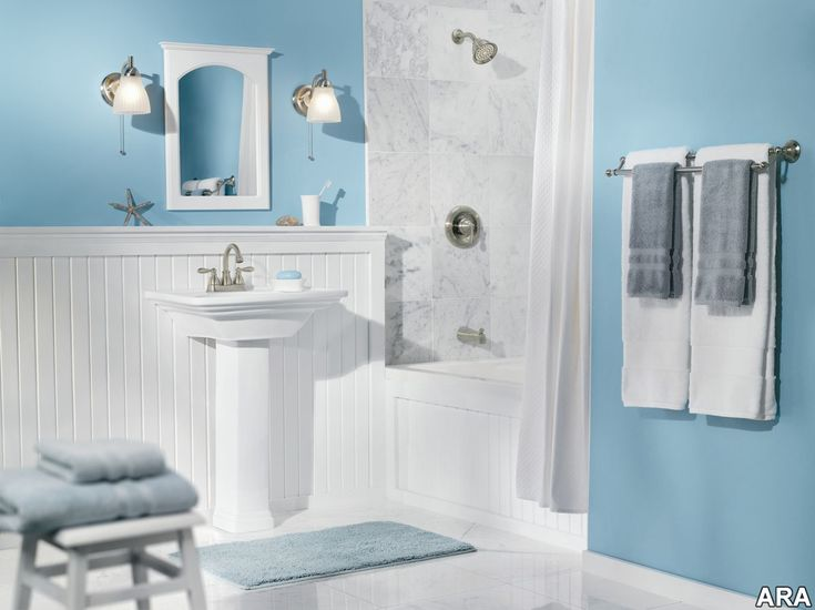 Bathroom, Comfortable Bathroom Design Light Blue Wall Color Ideas With  White Marble And Furniture Accent