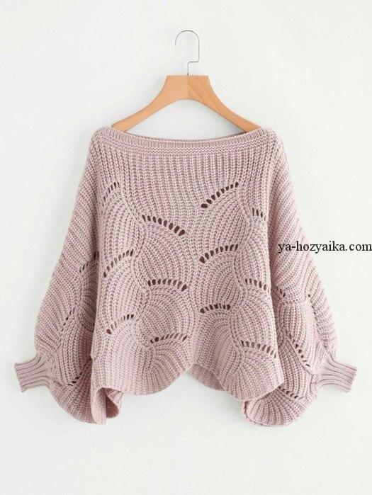 Стильный пуловер спицами 2018. Оригинальный пуловер спицами схема