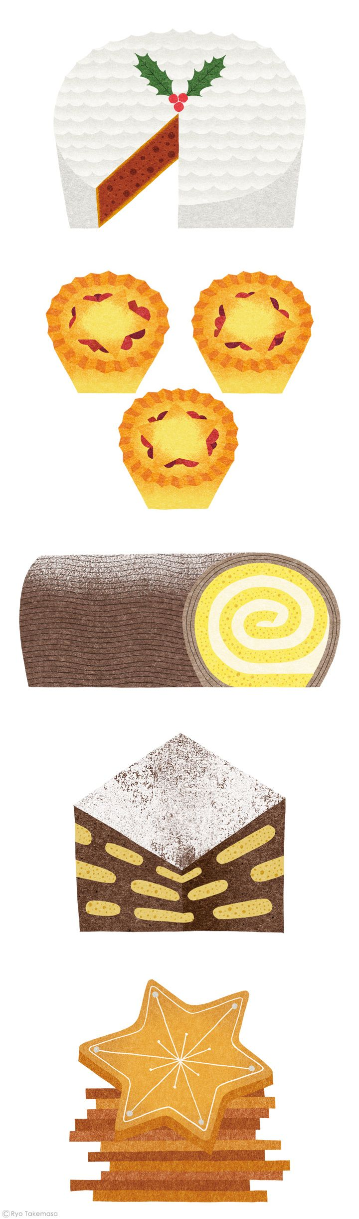 Christmas food illustrations by Ryo Takemasa