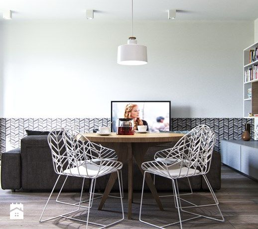 Mieszkanie dla młodej pary (Żoliborz) - Średni salon z jadalnią, styl nowoczesny - zdjęcie od Projektownia Wnętrz