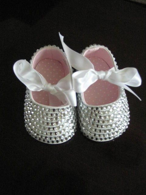WHITE Sparkly Bling Infant & Baby Booties-Shoes / Custom Made to Order / Great Newborn Gift. $70.00, via Etsy.