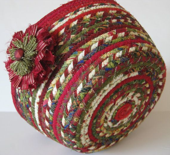 Fabric Wrapped Rope Baskets | Holiday Basket Coiled Rope Clothesline Bowl by SallyManke on Etsy