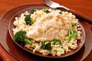 Arroz con pollo y queso mozzarella a la sartén receta