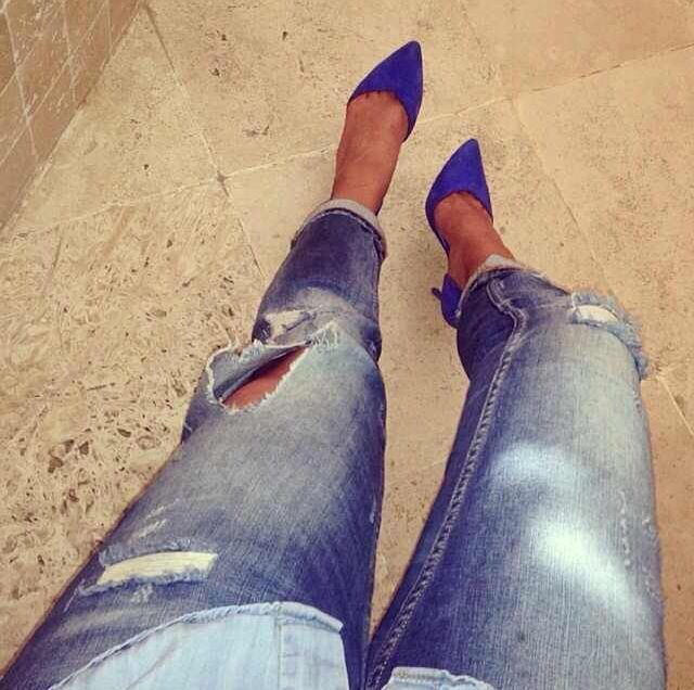 indigo shoes + ripped jeans