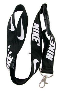 Nike Lanyard Keychain Badge Holder Snap Buckle Black | Balli Gifts
