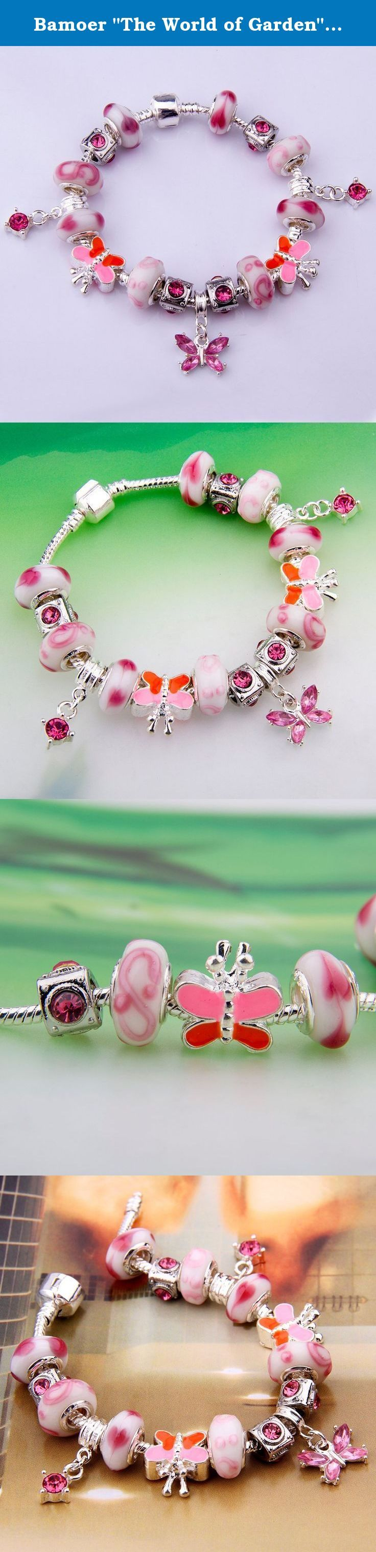"""Bamoer """"The World of Garden"""" Pink Murano Glass Beads Butterfly Dangle Charm Beaded Silver Plated Bracelet Valentine's Day Gifts for Ladies Girls Women 20cm. Brand History: Bamoer is a vibrant, young, and modern brand. With over 4 Years of international trading Bamoer offer the hot sale items for our best customer and reasonable price Gorgeous pink murano glass bead European style bracelet has dangling pink butterflies and a white crystal heart. Beautiful murano inspired pink glass beads…"""