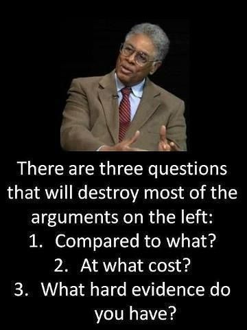 There are three questions that will destroy most of the arguments on the left: 1. Compared to what? 2. At what cost? 3. What hard evidence do you have? ~ Thomas Sowell