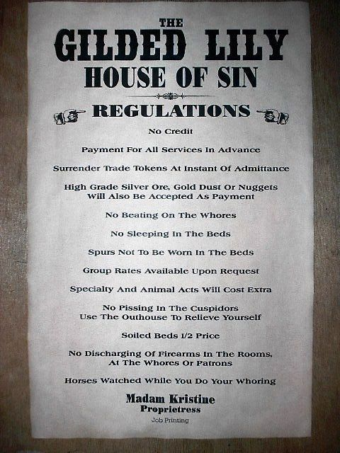 """OLD WEST BROTHEL RULES GILDED LILY REGULATIONS POSTER 18""""x30"""" (000)"""