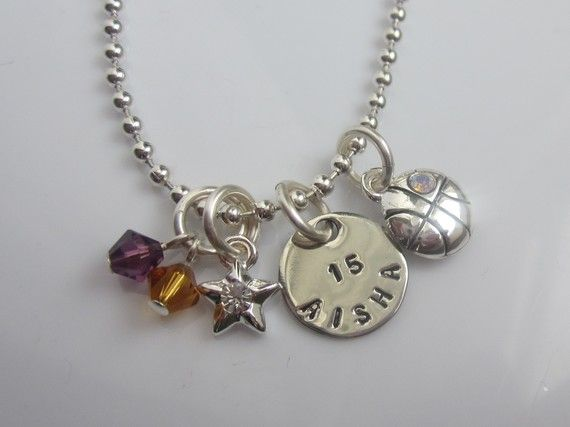 Personalized Basketball Star Girl's Charm Necklace, Star and Dangle YOUR TEAM COLORS, from the belle bambine children's line.