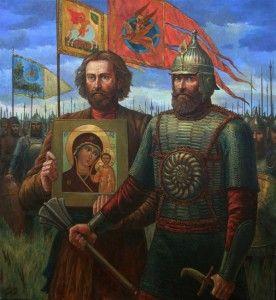 Theotokos of Kazan icon going into battle painting.  minin_pojarskiy