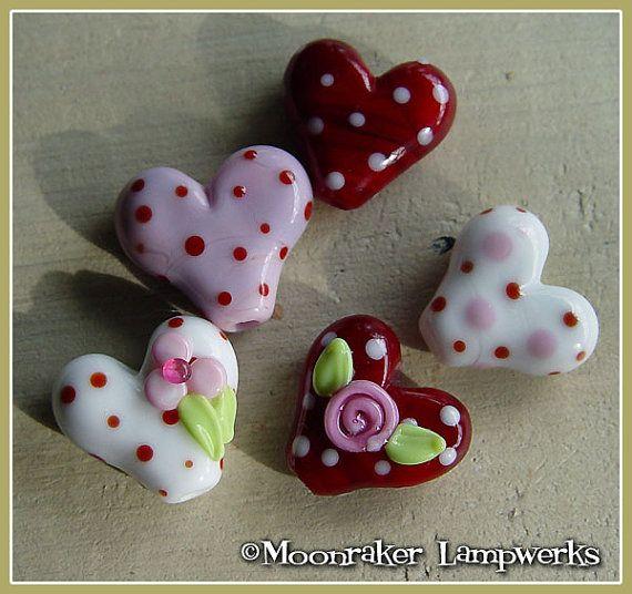 sweetheart lampwork bead set
