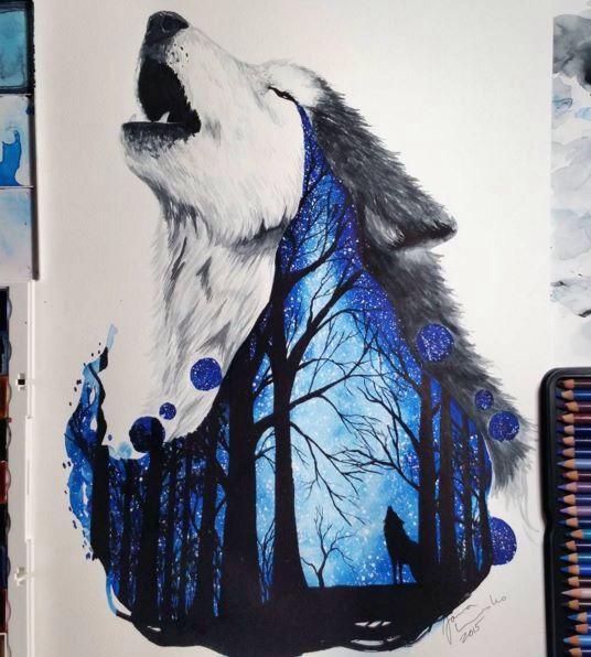A fabulous watercolor works by Finland Artist Jonna Scandy Girl.