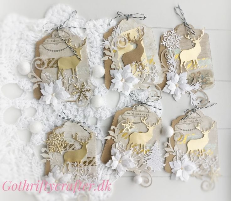 Christmas tags, white and gold. Washi tape, swirls and flowers deer, scrapbook