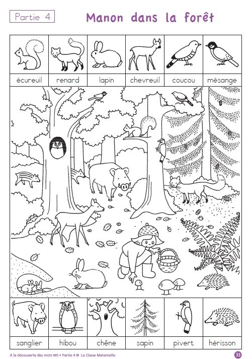 ten free printable pages to help children practice forest-related French vocab--very cute!