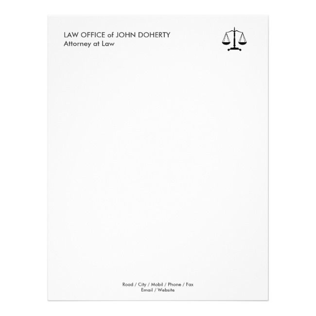 Law Office Classic Scales Of Justice Letterhead Zazzle Com