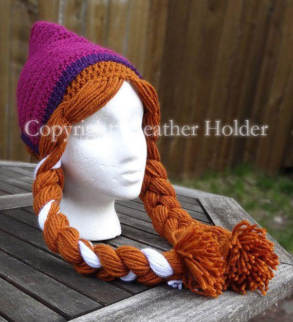 Anna Frozen Crocheted Hat Pattern Instant Download by HHCrafts