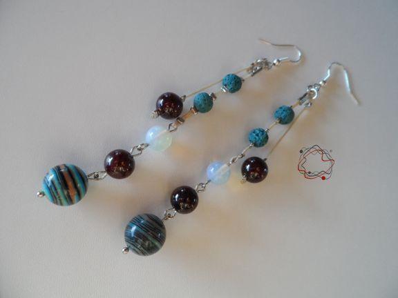 Turquoise, Lava & Moonstone Earrings