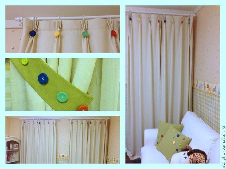 Подхват для штор Весёлые Пуговки - зелёный,подхват для штор,подхваты,шторы в детскую