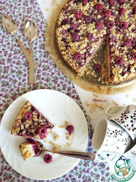 Пирог из овсянки с малиновым джемом и малиной - кулинарный рецепт
