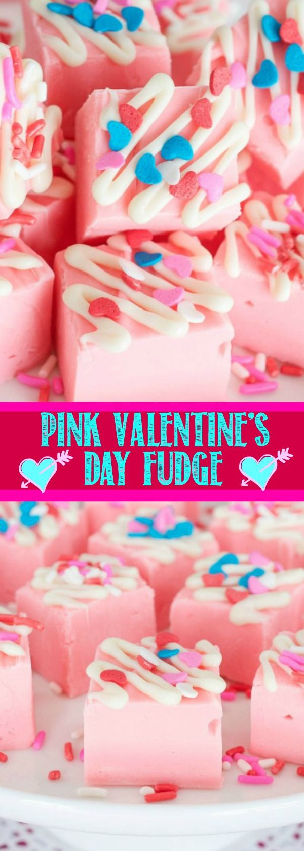 Easy Pink Lemonade Fudge is the perfect treat for Valentine's Day when festive sprinkles are added. It also makes a yummy no bake summertime treat!