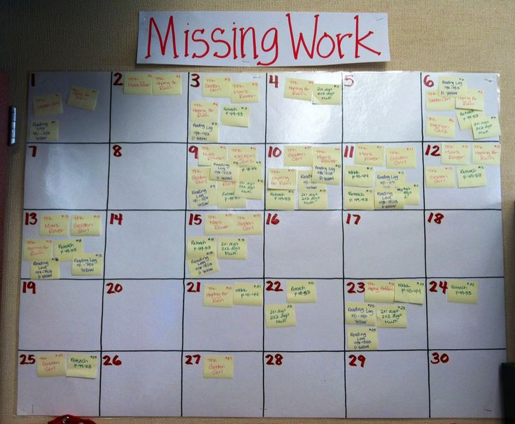 Missing Work on a class calendar. Students take their post-it off and attach it to their late work. Good idea