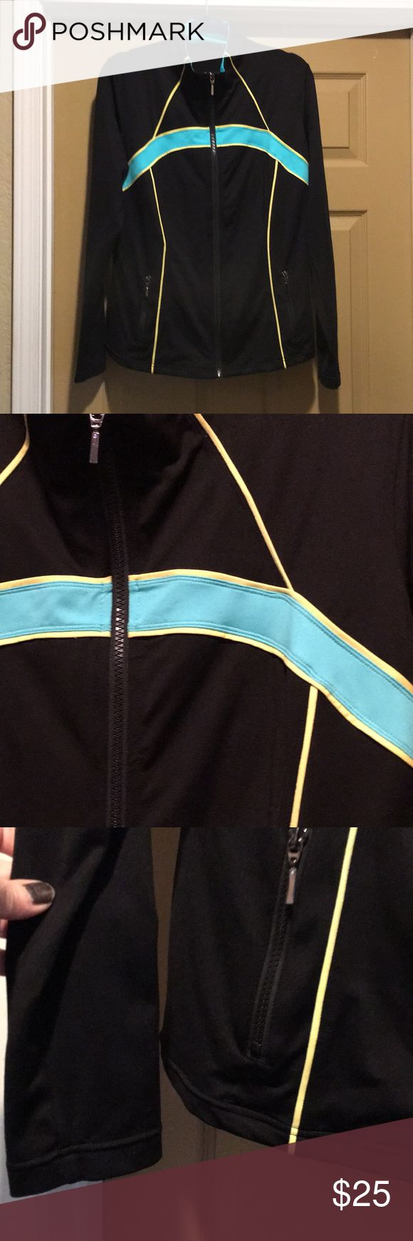 "Boston Proper Jacket Boston Proper Jacket. Size large. Black with blue and yellow. Used excellent condition. Measures 21"" from armpit to armpit. Length 25"" from top to bottom. ❌No Trades❌ Proceeds go towards feeding the homeless❌ Bundle to save, I have hundreds of items to choose from❌ Boston Proper Jackets & Coats"
