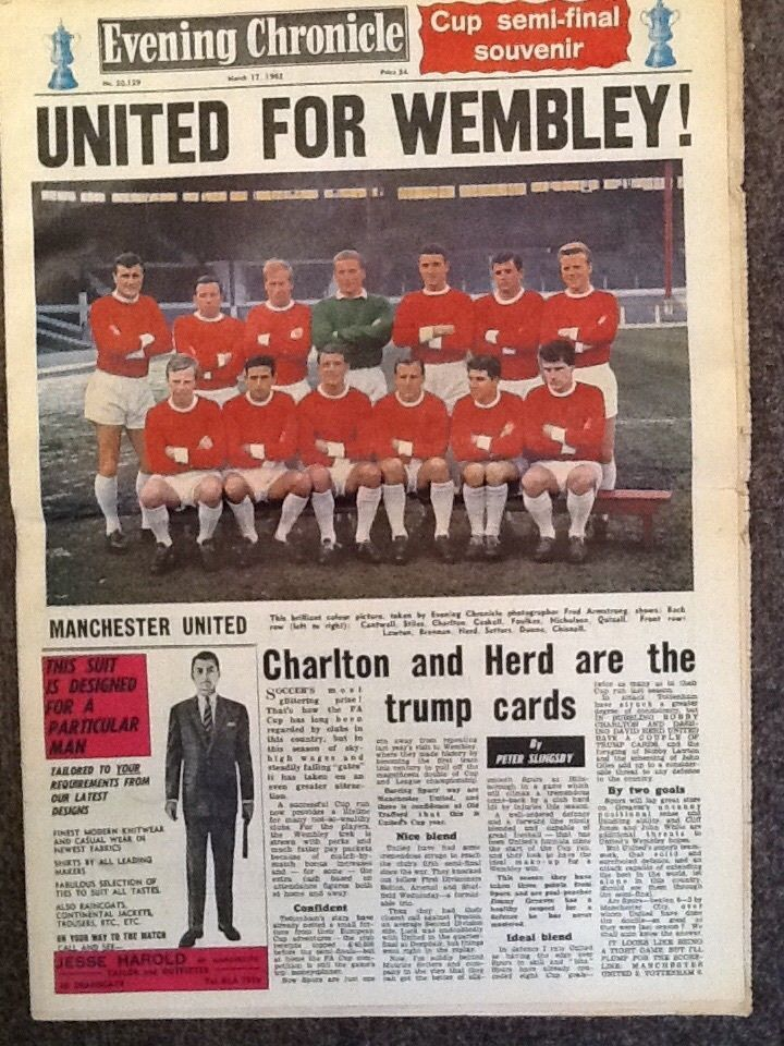 EVENING CHRONICLE FA CUP SEMI FINAL SOUVENIR ~ 17 MARCH 1962 ~ MANCHESTER UNITED