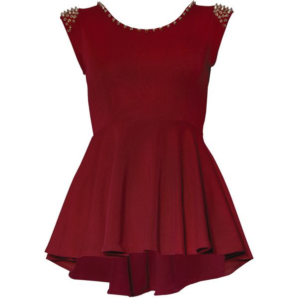 Rare London Peplum Studded Top (77 RON) ❤ liked on Polyvore featuring tops, blouses, shirts, dresses, oxblood red, shirt top, studded blouse, red peplum shirt, studded shirt and polyester shirt