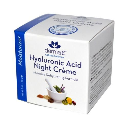 Derma E Hyaluronic Acid Night Creme Description: Intensive Rehydrating Formula An intensive, nourishing and hydrating creme combines Hyaluronic Acid with Vitamin A, Ester-C, Allantoin and Panthenol, t
