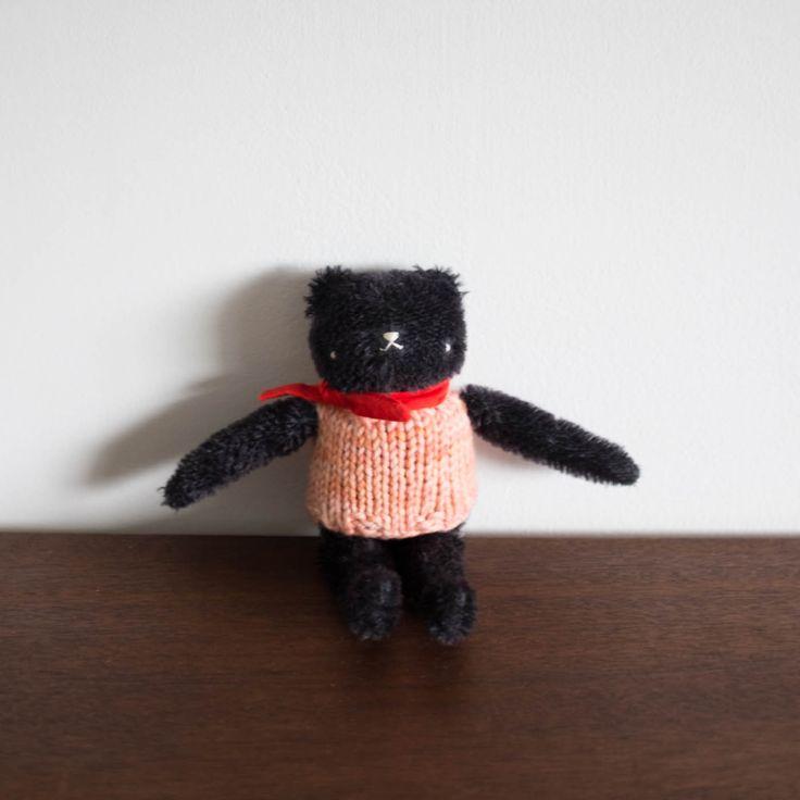 Polka Dot Club Floppy Bear- Black