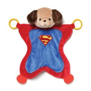 Baby Dc Comics Griffin as Superman Activity Baby Blanket The activity blankets combine a plush toy head with a soft surface perfect for tummy time and playtime. Two plastic teething rings and two textured rubber tabs provide additional play value. Appropriate for all ages. http://awsomegadgetsandtoysforgirlsandboys.com/gund-superhero/ Gund Superhero: Baby Dc Comics Griffin as Superman Activity Baby Blanket