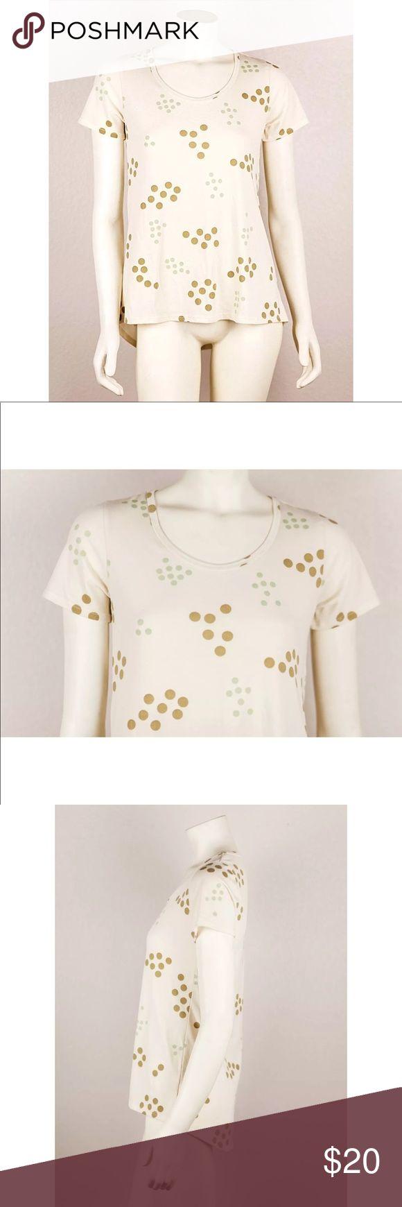 LuLaRoe Classic T-Shirt Beige Yellow Polka Dot LuLaRoe Classic T-Shirt Beige Yellow Green Polka Dot Short Sleeve Tee Size XXS. Minimal piling  Bust: 17.5  Waist: 18  Length: 25 LuLaRoe Tops Tees - Short Sleeve