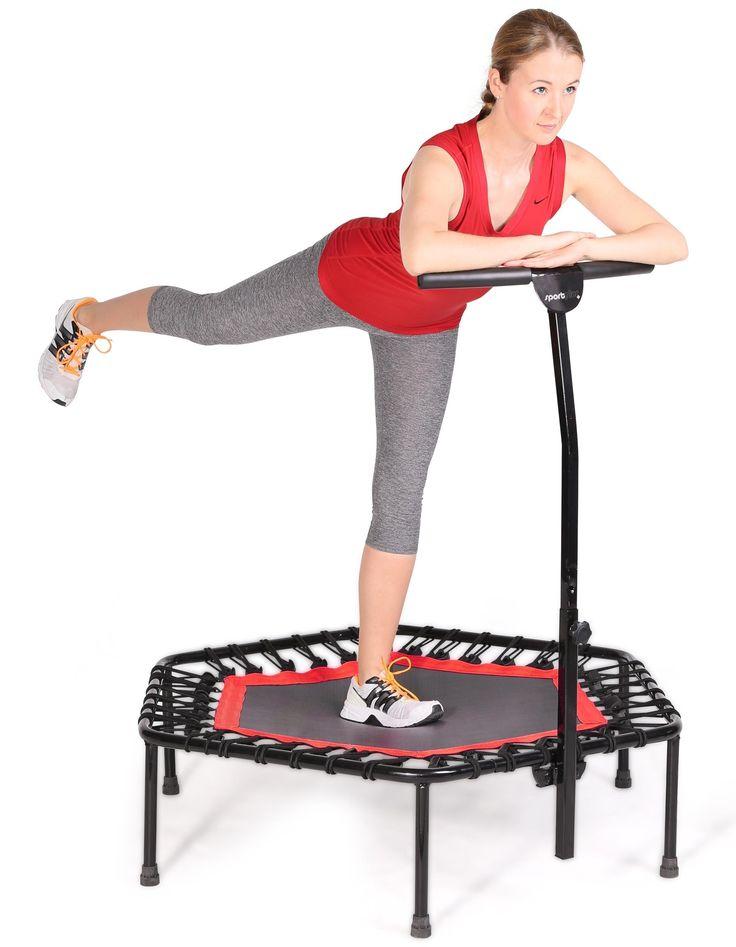 SportPlus Fitness Trampolin, Bungee-Seil-System, Ø 110 cm, bis 130 kg Benutzergewicht, TÜV Süd Sicherheit geprüft
