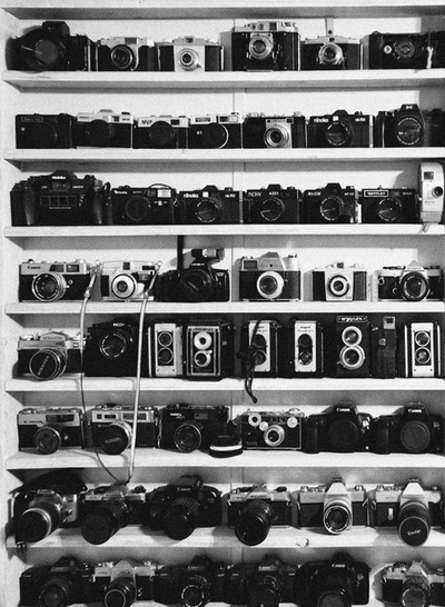 Awesome Shot of Some Old Vintage/Antique Cameras & NEWER Cameras!