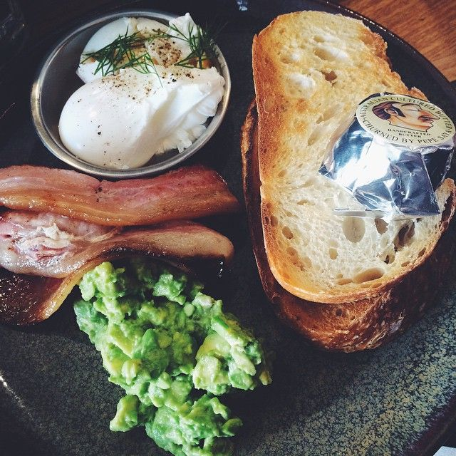 """Instagrammer @cassielaura and her guests had breakfast at Lonsdale Street Roasters 23. """"Smashed avo, Piallago (AKA WORLDS BEST) bacon and poached eggs - get in me."""""""