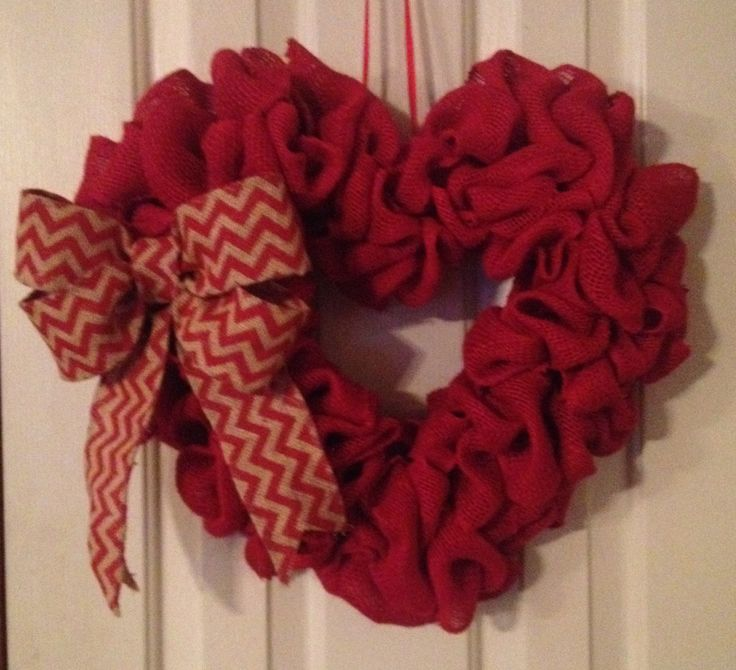 Heart shaped burlap wreath with chevron bow