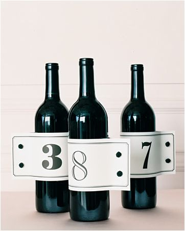 wine bottle table numbers...like the use of different fonts and the style of wrap